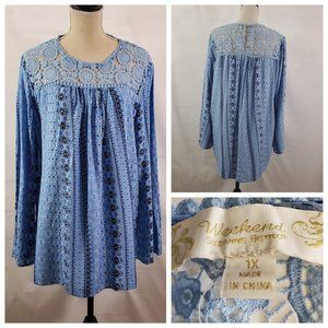 Suzanne Betro WEEKEND Lace Trim Tunic Top - 1X
